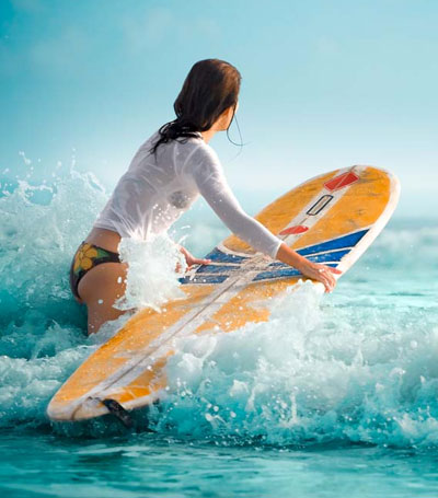 Surfing and enjoying